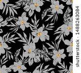 seamless black and white flower ... | Shutterstock .eps vector #1488263084