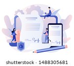 electronic contract or digital... | Shutterstock .eps vector #1488305681