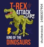 t rex attack tyrannosaurus rex... | Shutterstock .eps vector #1488307904
