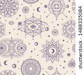 seamless pattern with sacred... | Shutterstock .eps vector #1488335084