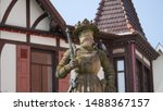 Reutlingen, Germany: The historic statue of emperor Maximilian II from 1570 is placed on a fontain on the market place. His statue holds important city rights in it