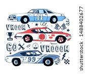 retro sport racing cars set... | Shutterstock .eps vector #1488402677