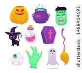set of halloweeen stickers ... | Shutterstock .eps vector #1488414191