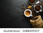 cup of fresh made coffee served ...   Shutterstock . vector #1488435527