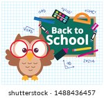 school banner design with owl cartoon and chalkboard with school supplies over grid sheet. vector illustration