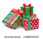boxes with gifts tied with red... | Shutterstock . vector #148844324