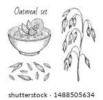 oats sketch. oatmeal porridge... | Shutterstock .eps vector #1488505634
