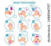 washing hands properly... | Shutterstock .eps vector #1488546707