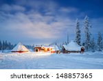 Winter Landscape With Cabin Hu...