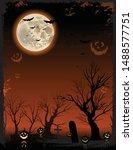 vertical orange halloween... | Shutterstock .eps vector #1488577751