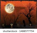 vertical orange halloween... | Shutterstock .eps vector #1488577754