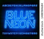 blue neon alphabet font. bright ... | Shutterstock .eps vector #1488584684