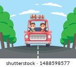 Family Car Travel Cartoon Flat...