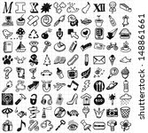100 mix hand drawn icons   | Shutterstock .eps vector #148861661