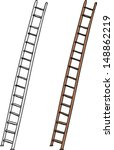 Aluminum And Wooden Ladders On...