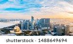 Hangzhou Zhejiang China Qianjiang New Town skyline panorama dusk scenery