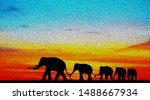 Silhouette Elephants In The...