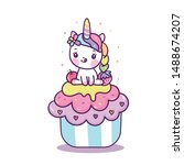 Cute Unicorn Cupcake Vector ...