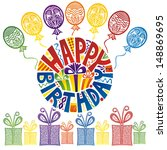 happy birthday greeting card... | Shutterstock .eps vector #148869695