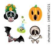 vector set of halloween... | Shutterstock .eps vector #1488714221