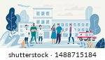flat hospital yard with young... | Shutterstock .eps vector #1488715184