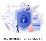 data protection concept. scan... | Shutterstock .eps vector #1488723764
