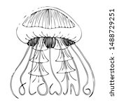 cute isolated jellyfish with...   Shutterstock .eps vector #1488729251