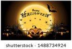 happy halloween text banner     ... | Shutterstock .eps vector #1488734924