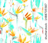 pastel tropical jungle flowers  ... | Shutterstock . vector #1488735587