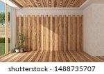 empty modern room with wooden... | Shutterstock . vector #1488735707