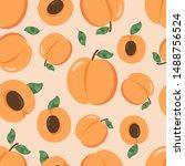 apricot fruit seamless pattern. ... | Shutterstock .eps vector #1488756524