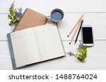 notebook planner and mobile...   Shutterstock . vector #1488764024