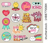 set of fashion patches  cute... | Shutterstock .eps vector #1488770084
