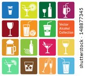 vector collection  alcohol icons | Shutterstock .eps vector #148877345