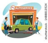 repairman lifting car on... | Shutterstock .eps vector #1488813524