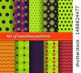 set of trendy seamless floral... | Shutterstock .eps vector #1488824477