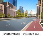 asphalt road with bike cycling... | Shutterstock .eps vector #1488825161