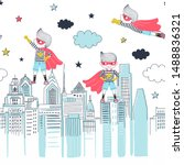super boys horizontal vector... | Shutterstock .eps vector #1488836321