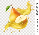 realistic yellow pear fruit...   Shutterstock .eps vector #1488839924
