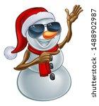 a cool snowman christmas... | Shutterstock . vector #1488902987