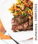 grilled steak with vegetables... | Shutterstock . vector #1488915521