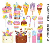 unicorn rainbow sweets set.... | Shutterstock .eps vector #1488920981