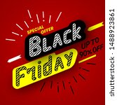 black friday sale banner on red ... | Shutterstock .eps vector #1488923861