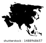 asia continent blank map vector ... | Shutterstock .eps vector #1488968657