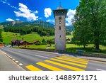 Old church tower Alter Kirchturm in swiss village Lungern, canton of Obwalden, Switzerland