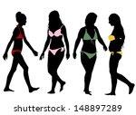 silhouettes of bikini girls on... | Shutterstock .eps vector #148897289