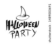 halloween witch party text... | Shutterstock .eps vector #1489003691