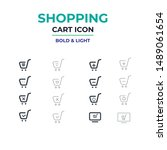 shopping cart vector icon set