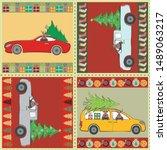 beautiful patchwork christmas... | Shutterstock .eps vector #1489063217