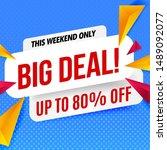 big deal banner template.blue...   Shutterstock .eps vector #1489092077